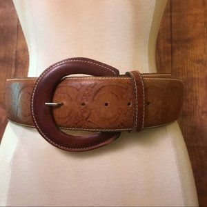 Vintage Sandy Duftler Wide Stiff Leather Belt M